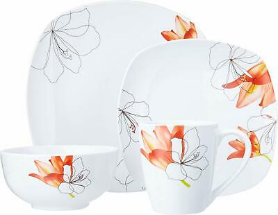 Dinnerware Sets Square (Lily Square 16 Piece Dinnerware Set - Floral Pattern, Ceramic, Chip)
