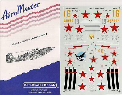 Aeromaster 1/48 Stalin''s Cobras Pt. II 48-092 P-39 Cobra Aircraft Decals