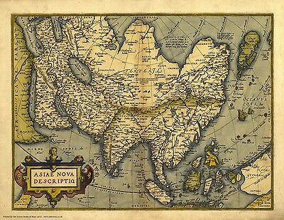 Asia in 1570 - reproduction of an old map by Abraham Ortelius