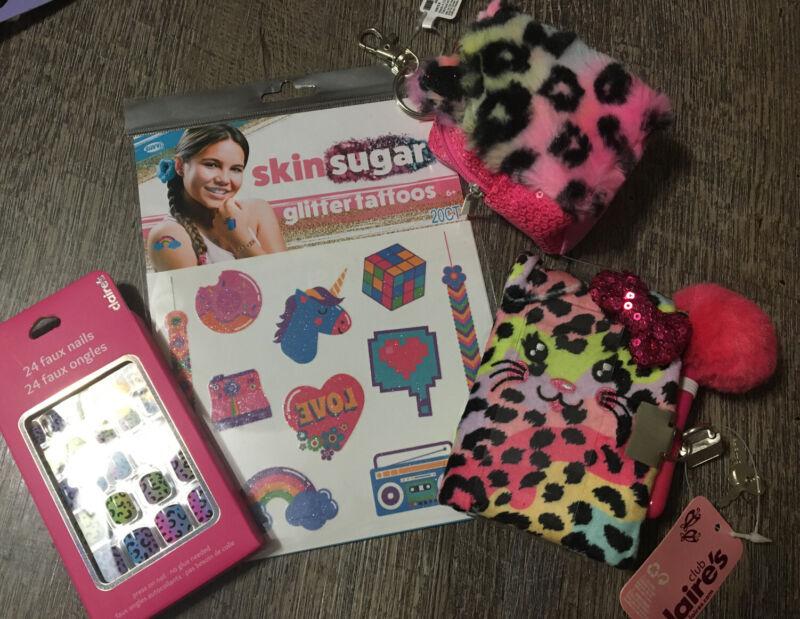 Claire's Leopard Kitty Mini Backpack Keychain Stick On Nail Unicorn Tattoo Diary