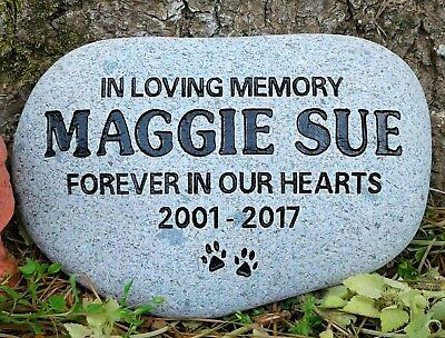 Pet Memorial Stone Cat or Dog Personalized engraved river stone, pet gravestone