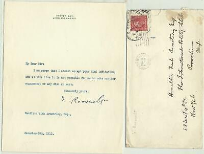 President THEODORE ROOSEVELT Typed Letter -