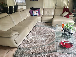 Leather corner lounge with chaise Bracken Ridge Brisbane North East Preview