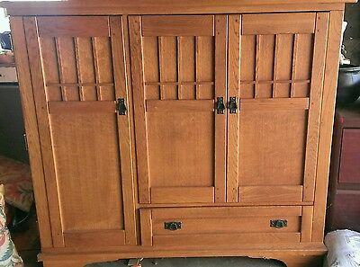 Oak Craftsman media cabinet