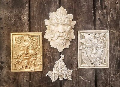 Lot of 4 Green Man Leaf Face Home Garden Wall Plaque Decor Clearance