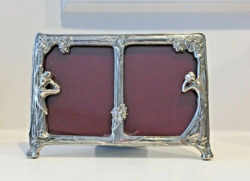 Vintage Art Nouveau Figural Man in Top Hat & Woman in Gown Metal Photo Frame GUC