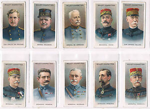 WILLS ALLIED ARMY LEADERS 1917  COMPLETE SET GOOD/VG