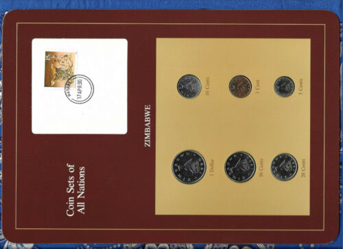 Coin Sets of All Nations Zimbabwe 1980-1990 UNC $1 1980 10,50 cents 1990