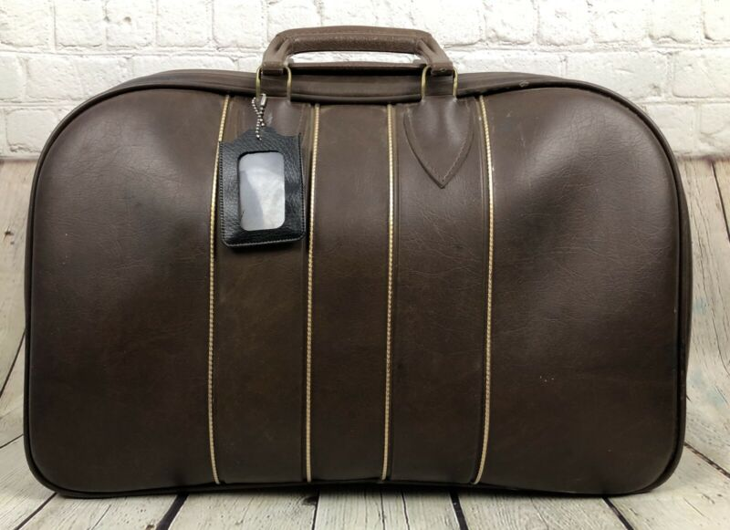Colonial Company Double 2 Ball Bowling Bag - Carry Storage Brown Suitcase Style