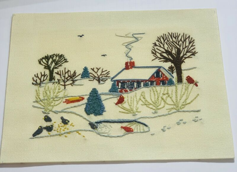 Vintage Paragon Needlecraft Crewel Embroidery Cottage Woods Birds Scene Unframed