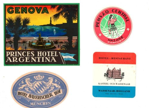 VINTAGE LUGGAGE LABELS, LOT #1, 22 DIFFERENT