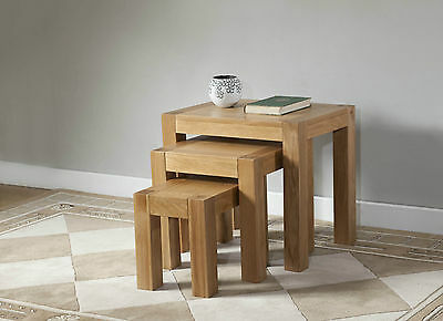 Solid Wood Chunky Oak Nest Of 3 Tables | Brampton Range