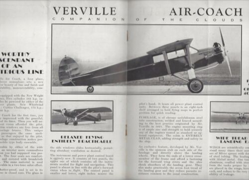 Verville Aircraft Co. 20s/30s? the new Air-Coach airplane  brochure