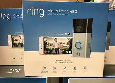 Ring Video Doorbell 2 Wire-Free  Satin Nickel  NEW SEALED Free Returns