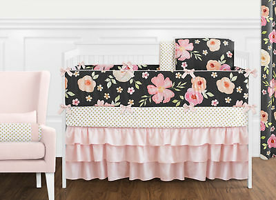 Sweet Jojo Black Pink Shabby Chic Watercolor Floral Baby Girl Crib Bedding -