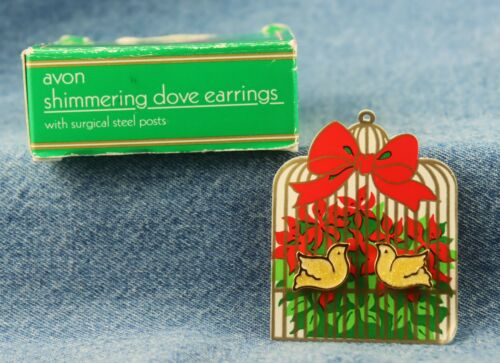 """Vintage Avon """"Shimmering Dove"""" Christmas Figural Dove Pierced Earrings"""