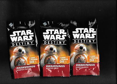 Star Wars Destiny Awakenings x's 3 Factory Sealed Booster Packs Fast Ship