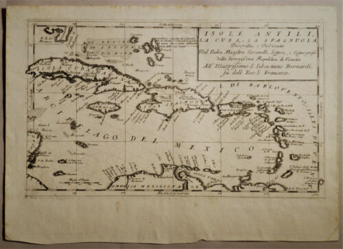 1692 Genuine Antique map West Indies, Cuba, Antilles, Caribbean. Vinc. Coronelli