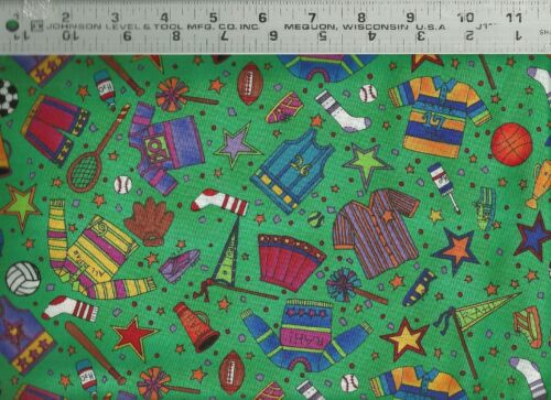 SSI ~ Sports Uniforms Balls Equipment on Green ~ 100% Cotton Quilt Fabric BTY