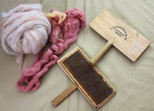 Antique Wooden Wool Cards Hand Carders L.S.Watson & Co Leicester Mass and wool