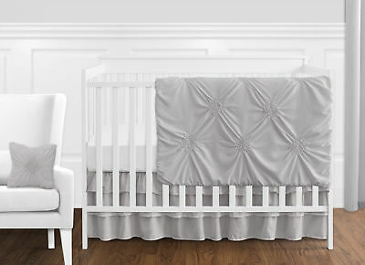 Bumperless Solid Color Grey Harper Shabby Chic Baby Girl 11pc Crib Bedding Set