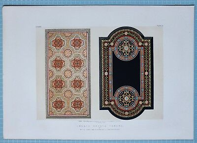 LARGE 1862 EXHIBITION PRINT INLAID MARBLE MOSAIC TABLES BY MR TOMLINSON BAKEWELL