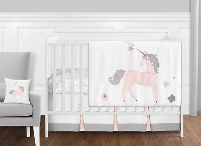 Bumperless Blush Pink Grey Gold Unicorn Floral Toile Girls Crib Baby Bedding Set - Floral Toile Crib