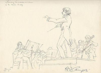 Italian conductor Angelo Campori SIGNED original drawing - opera Verdi Puccini
