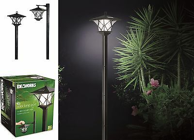 Outdoor Garden LED Antique Solar Landscape Path Light Lamp Post Dual Purpose