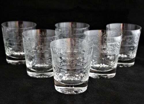 SET 6 LIBBEY ROCK SHARPE CRYSTAL OLD FASHION GLASSES TUMBLERS