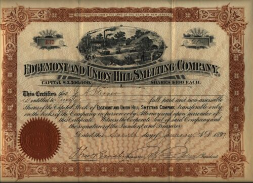 Edgemont & Union Hill Smelting Company Stock Certificate New Jersey