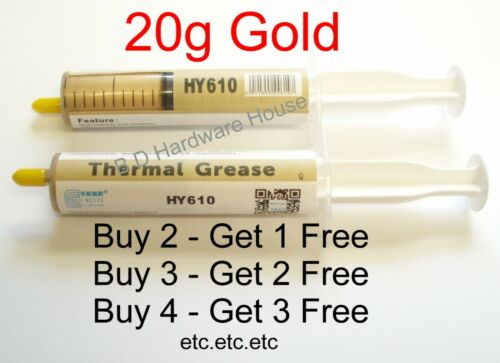 *** 20g- Gold HY610 Thermal Grease CPU HeatSink Compound Paste Syringe AMD/Intel