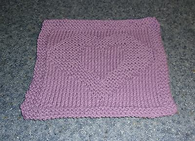 Brand New Hand Knit Cotton Dish Cloth Purple Heart Design For Dog Rescue Charity