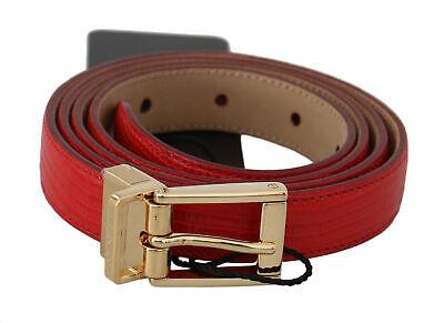 DOLCE & GABBANA Belt Red Calfskin Polished Gold Buckle s. 100cm / 40in RRP $450