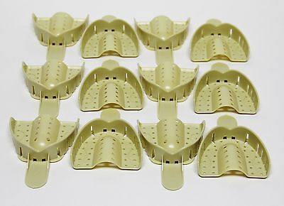 Dental Plastic Disposable Impression Trays Perforated Autoclavable Ul 1 12 Pcs