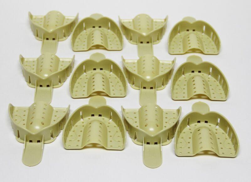 Dental Plastic Disposable Impression Trays Perforated Autoclavable UL #1 12 Pcs