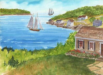 EAST BOOTHBAY HARBOR MAINE COTTAGES GARDEN YACHTING SAILING VILLAGE SEA PAINTING