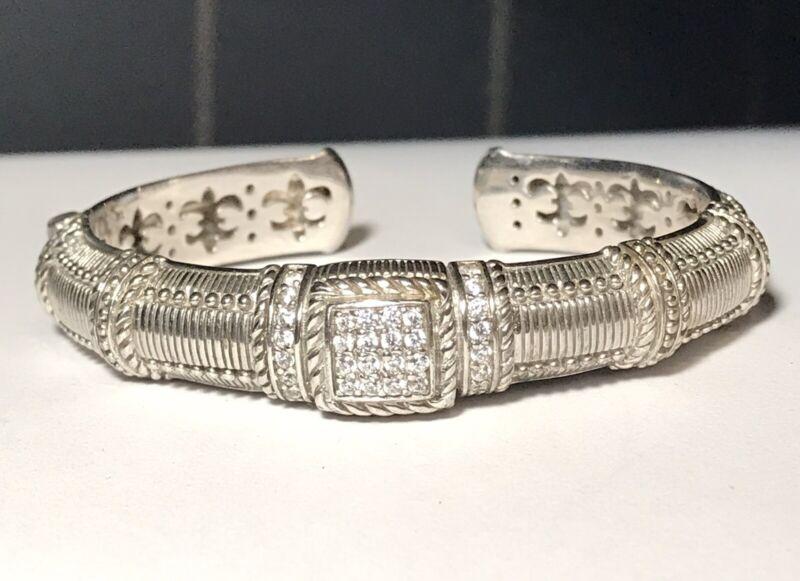 "Judith Ripka Cuff Bracelet Sterling Silver CZ Hinged Bracelet 6"""