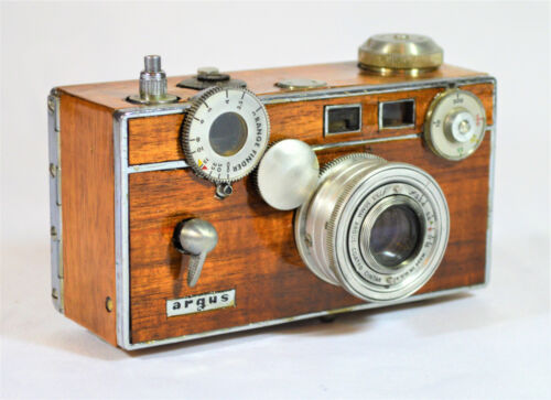 BOX CAMERA ARGUS C3 55-82-yr. old VINTAGE c. 1939-1966, CUSTOM KOA WOOD VENEER