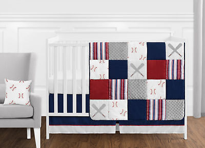 11pc Baseball Sports Red Blue Baby Boy Crib Bedding Set Sweet Jojo Bumperless Baby Boy Sports Bedding