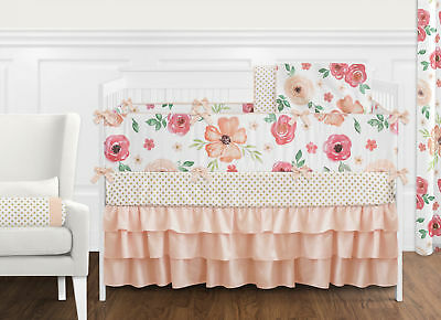 Easygoing Jojo Peach Green Shabby Chic Watercolor Floral Baby Girl Crib Bedding Set