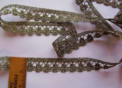 "Vintage  Gold ""Genuine Metallic"" Lace Trim For Antique Doll Clothes/Crafts  for sale  Harrisonburg"