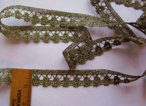 "Vintage  Gold ""Genuine Metallic"" Lace Trim For Antique Doll Clothes/Crafts"