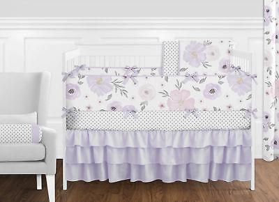Lavender Purple Pink Grey Shabby Chic Watercolor Floral Nursery Crib Bedding - Lavender Grey