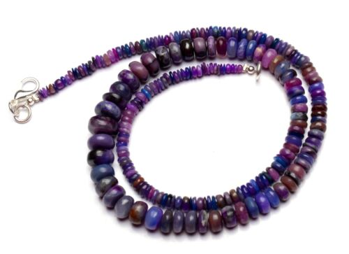 """Natural Rare Gem Sugilite 3 to 9mm Size Smooth Rondelle Beads Necklace 17"""""""