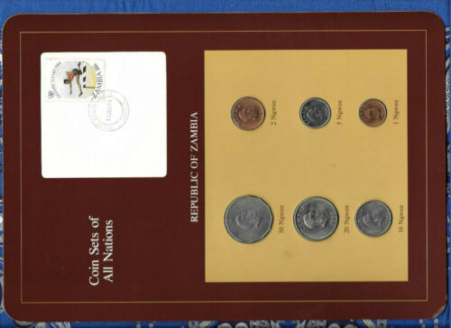 Coin Sets of All Nations Zambia 1968 - 1983 UNC 20 Ngwee 1968 50 Ngwee 1972
