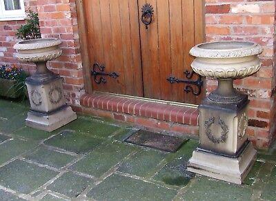 RARE Pair Of Original Antique Victorian  Salt Glazed Garden Urns