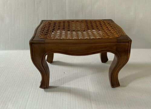 Cane and Wood Footstool with Needlework Cover