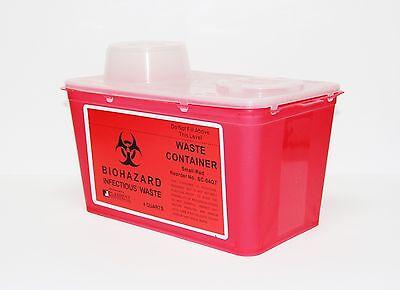 Dental Medical Lab Bio-hazard Sharps Waste Container 4 Quarts Needles Disposal