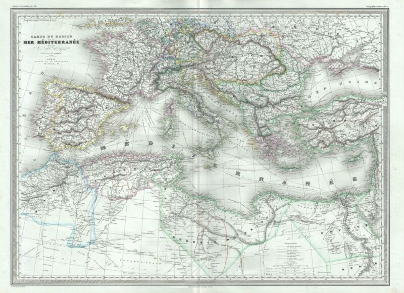 1860 Dufour Map of the Mediterranean Region